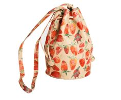 "A sturdy leather bag with adjustable drawstring closure will surely add a bit of joy to any ensemble. Leather is printed with an allover pattern of ripe, juicy, painterly strawberries. Made in NYC.Measurements:7"" wide, 10"" tall, with a 48"" shoulder strap.Shoulder strap is 3/4"" wide. This item is ready to be shipped."