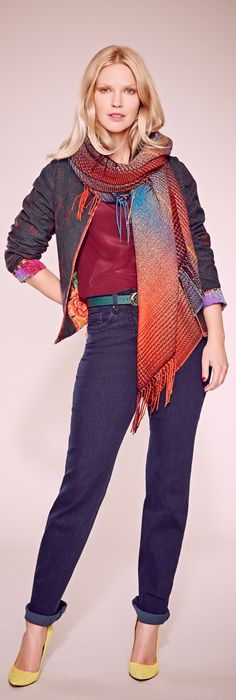 Tina's Top 10 Trends for Fall 2013 - this is such a great look - the scarf covers your tummy and the shoes grab your attention. it's so fun! I wouldn't be able to breath with that belt, so I would have to adapt this look.