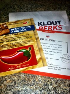 """""""Got my new Klout Perk in the mail today. Look's like I'm going to Chili's Grill & Bar courtesy of my Klout score. :)"""" -- via Jonny Awesum (Facebook)"""