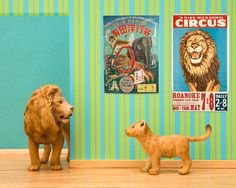 lion print vintage circus posters aqua and blue by WildLifePrints