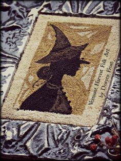 ~Goody Andover~ - Vermont Harvest Folk Art by Doreen Frost Punch Needle Embroidery Silhouette, Valdani Floss, Halloween
