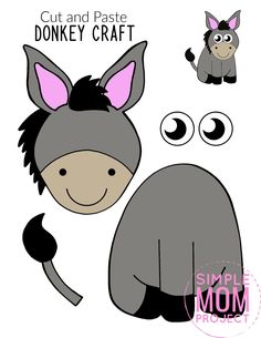 Are you looking for a fun cut and paste farm animal craft to share with your kids? Here's a cute, free printable cut and paste Donkey craft template - the ideal diy craft activity for toddlers Farm Animals Preschool, Farm Animal Crafts, Animal Crafts For Kids, Crafts For Kids To Make, Preschool Crafts, Paper Art Projects, Animal Art Projects, Felt Animal Patterns, Stuffed Animal Patterns