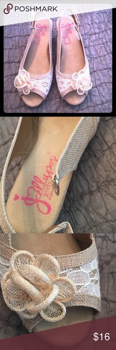 """Jellypop girls cork heels 3 memory foam Velcro Jellypop gently used girls size 3 cork bottom heels with memory foam - super cute natural burlap & lace with Velcro closures. Worn about 3 times for a total of about 3-4 hours. Excellent condition - heels is just over 2"""" at back of heel. Jellypop Shoes Dress Shoes"""