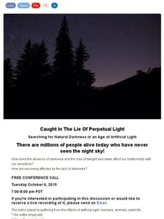 Free conference call discussing the end of darkness.