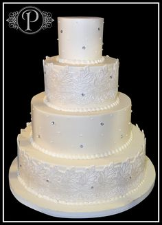 Elegant Wedding Cake Buttercream with Fondant Lace by Palmer's Bakery