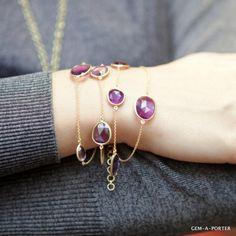 18kt Gold and Amethyst Four Strand bracelet
