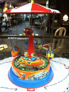 Vintage 1950s Tin Litho Toy Rocket Carousel -Merry Go Round
