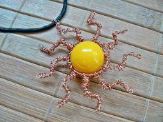 Tybetański Mnich: No i powstało SŁOŃCE :-) sun, yellow, wire wrapping, copper, pendant, necklace,