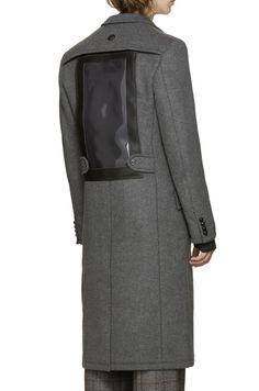 Junya Watanabe Grey Wool Vinyl Pouch Coat from SSENSE (men, style, fashion, clothing, shopping, recommendations, stylish, menswear, male, streetstyle, inspo, outfit, fall, winter, spring, summer, personal)