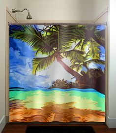 tropical beach paradise palm tree shower curtain by TablishedWorks, $67.00