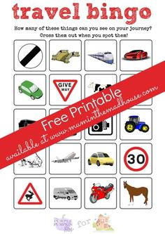 Travel Bingo free Printable. This Bingo/eye spy sheet is perfect for road trips with the children. Make sure your kids are occupied whilst in the car
