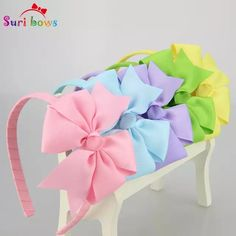 5 pcs/lot 30 colors Girls Hair bands Sweet Grosgrain Ribbon Bow Baby Toddler Hairbands Children Hair Accessories for Girls Ribbon Hair Bows, Diy Hair Bows, Diy Bow, Diy Ribbon, Grosgrain Ribbon, Diy Headband, Baby Headbands, Unicorn Headband, Unicorn Hair