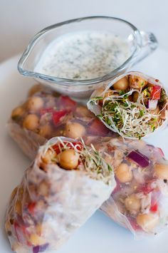 Chickpea-tuna rice paper wraps with sprouts and a quick & easy Greek yogurt ranch dressing. Quick, easy, satisfying and healthy!