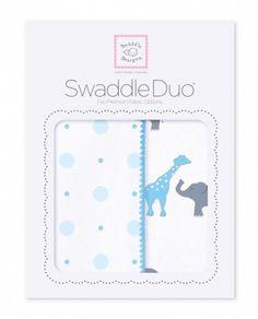 Babytepper i gavepakning - 1 stk flanellteppe & 1 stk marquisette gas-teppe.SwaddleDuo -Cirkus Fun, bright blue.   SwaddleDesigns® Store, fine og luksuriøse gavepakninger (28x21 cm) m/2 teppealternativer. En nyttig startpakke til baby & lekker gave! ♥ Delikat babyteppei flanell (Ultimate Swaddle Blanket).Babyblå med blå kantsøm (Big Dot Little Dot, pastel blue).* Tynnere teppe i lun bomullsflanell, børstet for mer bløthet.* Et allsidig teppe med mange muligheter og i...