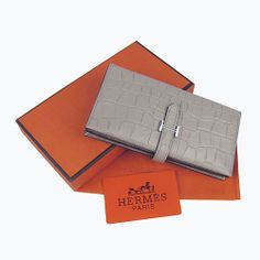 HERMES Grey Crocodile Leather Long Wallet Silver H005-011