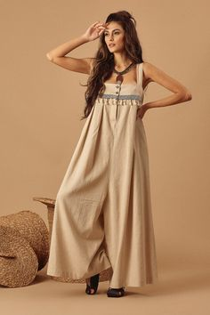 Pantalona Beige linen overall - Linen Dresses, Casual Dresses, Overalls Fashion, Daily Dress, Bohemian Mode, House Dress, Hippie Dresses, Blouse Designs, Girl Clothing