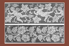 Iva Rose Vintage Reproductions - 1915 Large Filet Lace Insertions & Borders Chart Pack