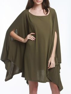 Stylish  Batwing Sleeve Asymmetric Solid Color Loose Dress For Women