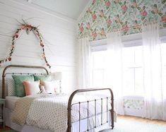 farmhouseforfour girls room, tarnished brass bed, peony wallpaper, shiplap, flow… – My Company Decor, Bedroom Design, Room Inspiration, Little Girl Bedroom, Peony Wallpaper, Girls Bedroom, Little Girl Rooms, Girl Room, Brass Bed