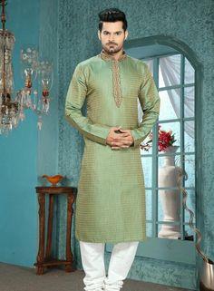 Green wedding wear punjabi kurta pajama in shantoon C15208