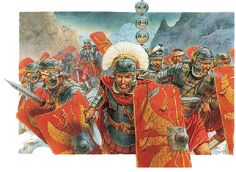 Romans in battle, II Century CE. This looks like Johnny Shumate's work, or Igor Dzis's but I'm not positive. I do wish people would include the artist's name when they pin the person's work!
