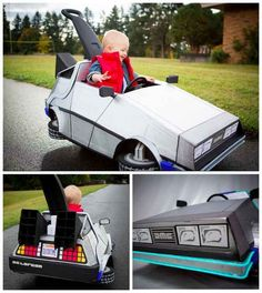 Marty McFly and his Delorean from Back To The Future - 19 Awesome costumes to start making NOW. Stroller Halloween Costumes, Stroller Costume, Halloween Costumes To Make, Homemade Costumes, Baby Costumes, Spooky Halloween, Halloween 2015, Children Costumes, Halloween Halloween