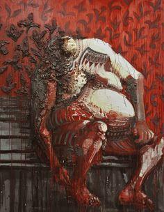 Gaetano Costa Il grosso uomo rosso (147x192) olio e poliuretano su tela - 2010 polyurethane, acrylic and oil on canvas