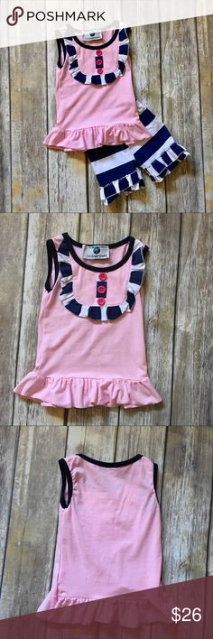 🌟HOST PICK🌟Nautical Boutique Top And Shorts Set Be Bold Be Beautiful and Be Comfortable. Sailor me outfit comes with top and shorts. Top is light pink with blue and white border and pink buttons. Shorts are blue and white with ruffled bottoms. Outfit is 100% cotton.   Sure to please adorable outfit! Bundle and save MissUnderstood Matching Sets