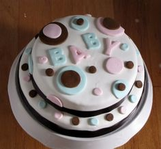 Baby Shower Cake - This was for a reveal party. The gender of the baby would be revealed in the inside filling when they cut into it. This one was for a boy!