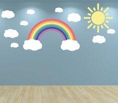 Muur sticker zon wolken en Rainbow pastelkleuren Kids slaapkamer kwekerij speelkamer Baby kamer muur Stickers