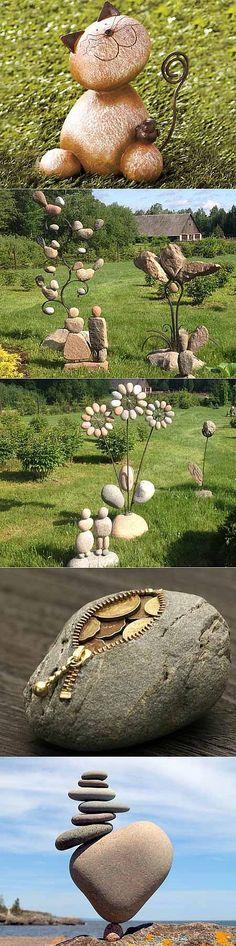 Manualidades para dar sus propias manos: 12 figuras de piedra