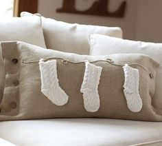 This pillow would be wonderful with the names of my three grandchildren on each of the stockings. And so easy to make!