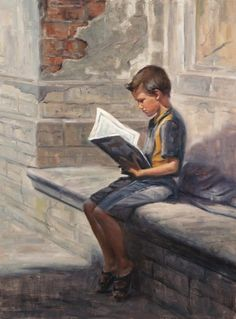 Unknown title. Irina Kirienko Milton.  I like this, because you see so few paintings/pictures of young boys reading.