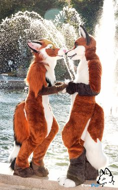 """Character & Fursuit """"Asha"""" (Left) Owned by: Templa Character & Fursuit """"Tellos"""". Art Plastic, Animal Costumes, Adult Costumes, Anime Furry, Furry Drawing, Anthro Furry, Fan Art, Fantasy Art, Furry Art"""