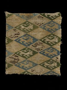 German or Spansih  13th-14th cent  Woven textile fragment embroidered. Brickstitch? Linen embroidered in silk  | V Search the Collections