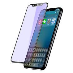 [US$11.20] Baseus 3D Anti-blue Light 0.23mm PET Soft Edge Tempered Glass Film for iPhone X  #023mm #antiblue #baseus #edge #film #glass #iphone #light #soft #tempered
