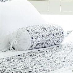 Good Housekeeping Pimlico Bolster Cushion, White & Dark Blue
