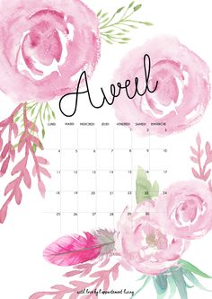 Calendrier d'avril à imprimer et fond d'écran à télécharger