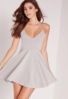 Petite Strappy Skater Dress Grey