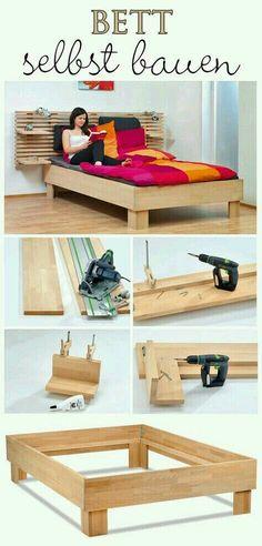 Build your own bed - Schlafzimmermöbel selber bauen - Bedding Master Bedroom Diy Furniture Easy, Bed Furniture, Pallet Furniture, Furniture Design, Furniture Ideas, Coaster Furniture, Small Furniture, Furniture Upholstery, Diy Platform Bed
