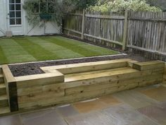 patio paving with railway sleeper retaining wall - Google Search