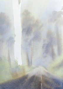 Under painting for rain, fog and mist with watercolor