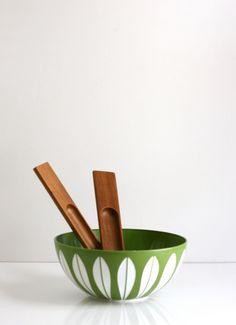 Mid Century Modern Dansk JHQ Teak Wood Salad Servers by WiseApple