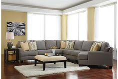 """The Chamberly 5-Piece Sectional from Ashley Furniture HomeStore (AFHS.com). With ample combinations to create a modular sectional that adapts to fit into any living room space, the stunning contemporary design of the """"Chamberly-Alloy"""" upholstery collection features sleek set-back arms along with beautifully shaped seating and back cushions to give you the style and comfort you deserve."""