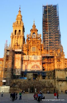 The Western Façade of the Cathedral of Santiago de Compostela, Spain in the low light, just before dusk.