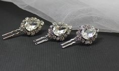 Bridal Head Pins, Set of Three Bridal Crystal Hair Pins, Bridal Hair Accessories, Bridal Hair clips, Wedding Hair jewelry. $60.00, via Etsy.