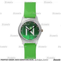 PRINTED GREEN JADE GEMSTONE MONOGRAM WRISTWATCHES #gemstones #fashion #watch #accessory #gems #3d #geek #tech #jewel
