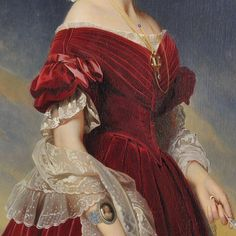 renaissance art Franz Xaver Winterhalter, Portrait of Marie-Louise, the first Queen of the Belgians (details) Renaissance Kunst, Renaissance Paintings, Princess Aesthetic, Aesthetic Painting, Historical Art, Old Paintings, Red Aesthetic, Classical Art, Old Art