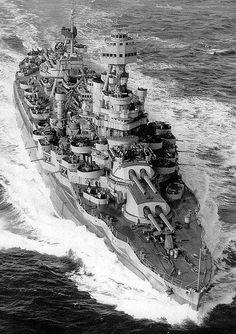 Dreadnought era battleship USS Texas late in WW2 -preserved in Galveston