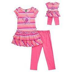 Girls 4-14 Dollie & Me Striped Drop-Waist Tunic & Leggings Set